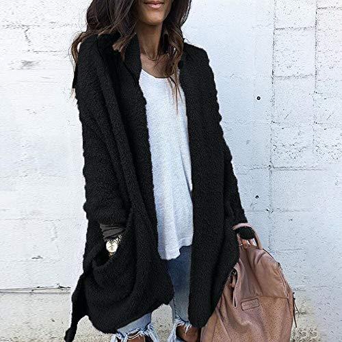 Femme Vêtements xinantime Manteau De Poche Noir Laine Artificielle D'hiver D'extérieur S04dTwq4Wx