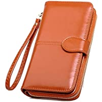 BECLINA Long Bi-Fold Zipper Wallet Large Capacity PU Leather Clutch Women's Wristlet