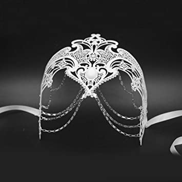 SUNFFFW Ghost Metal Laser Cut Silver Gold Wedding Party Máscara ...