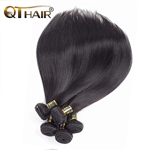 QTHAIR 10A Unprocessed Indian Virgin Hair Straight 3 Bundles (10