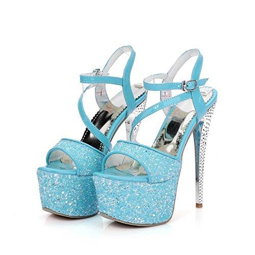 Allhqfashion Dames Solide Pu Spikes Stiletto Open Teen Sandalen Blauw