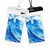 Waterproof Cases, iSPECLE 2 Pack Clear Waterproof Cell Phone Cases Dry Bag Pouch for Apple iPhone 6 Plus 6S SE, Samsung Galaxy S8 S7 S6 Edge, Up to 6 inch, Snorkeling Swimming Cruise Beach White Black