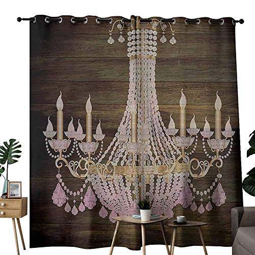 Rustic Wooden Polyester curtain Planks Crystal Chandelier Fashionable Textile Modern Special Collection Decorative Item Elegant Decor Block most light and ultraviolet light W84
