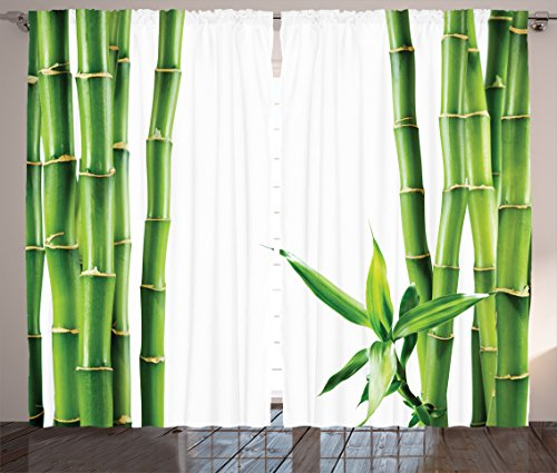 Ambesonne Asian Curtains, Branches of Bamboo Board Stalk Tropics Plants Greenery Fengshui Natural Lush, Living Room Bedroom Window Drapes 2 Panel Set, 108