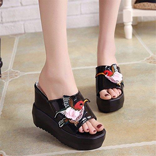 YUCH Chaussures Slip de Antidérapant Sandales D'Été Plage Femmes black Épais rrwdq8C