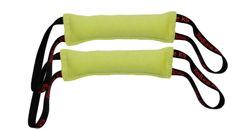 Lime Green Bundle of 2 French Linen Dog Tug Toys (3'' X 10'') 2 Handles Redline K9