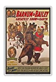 Barnum & Bailey Circus - Greatest Show on Earth - Bears that Dance - Vintage Circus Poster c.1916 - Master Art Print - 13in x 19in