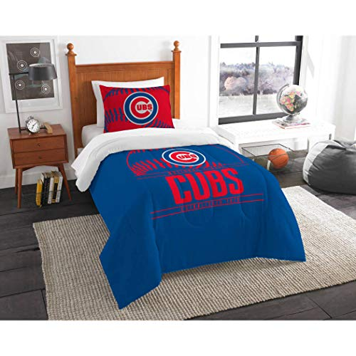 A&L 2 Piece Cubs Comforter Set Twin, Red Baseball Themed Bedding Sports Pattern Team Logo Fan Merchandise Athletic Team Spirit Fan Casual Comfortable Blue, Polyester