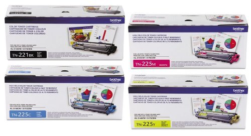 Brother TN221BK Standard Yield Black and TN225C, TN225M, TN225Y High Yield Cyan, Magenta and Yellow Toner Cartridge Set