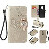 Cfrau Diamond Kickstand Case with Black Stylus for Samsung Galaxy S9 Plus,Luxury Embossed Crystal 3D Owl Flower Bling Glitter Wallet PU Leather Shockproof Soft TPU Wrist String Case - Gold