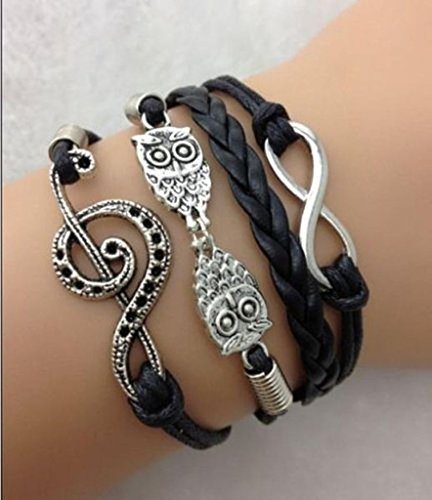[iVan Boys / Girls Leather Metal Bracelet Multilayer Braided Friendship Owl Charm Bracelets] (Cowgirl Costumes Diy)