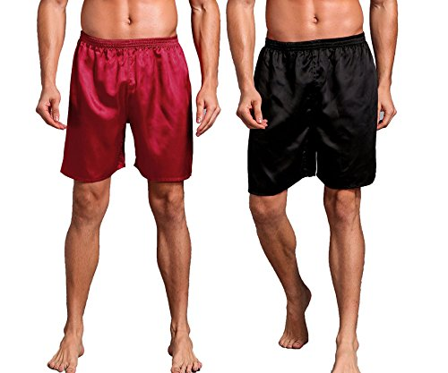 Admireme Mens Satin Boxer Shorts Silk Pajamas Shorts Sleepwear Boxers Underwear