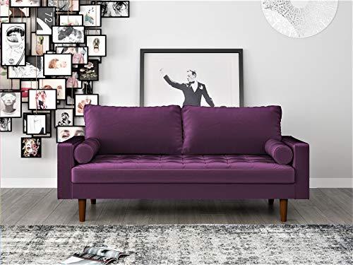 "Container Furniture Direct S5458 Mid Century Modern Velvet Upholstered Tufted Living Room Sofa, 69.68"", Eggplant"