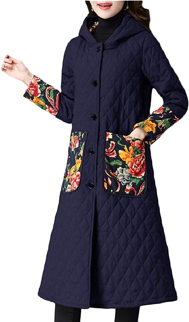 cheelot Womens Hoodie Cotton Fall Winter Ethnic Style Wadded Jacket