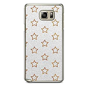 Glitter Samsung Galaxy Note 5 Transparent Edge Case - Design Gold And Silver Stars