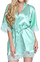 Giova Women's Lace Trim Kimono Robe Nightwear Nightgown Sleepwear Satin Short Robe