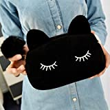 Sleepy Kitty Cat Cosmetic Bag Pencil Pouch Makeup Brush Case Travel Clutch Handbag Purse Cute Kawaii Fashion (Black)