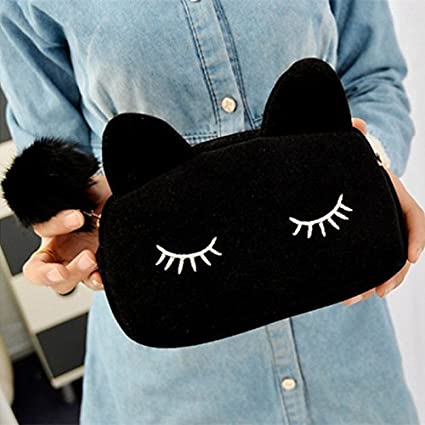 Sleepy Kitty Cat Clutch Handbag Purse Makeup Brush Pencil Bag Case Cute Kawaii K-Wave Cosmetic Pouch Kitten Fashion (Black) at amazon