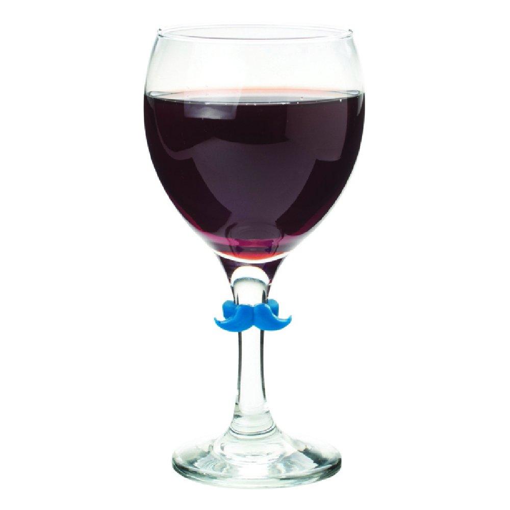 Glass Multi Joie 067742-498021 6pc Mustache Wine Charms