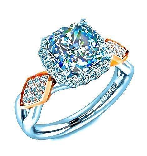 1.52 Ctw. Cushion Cut Square Halo Diamond Engagement Ring Custom Tufted Split Shank Modern Two-Tone White-Rose Gold Jubariss Fine Jewelry