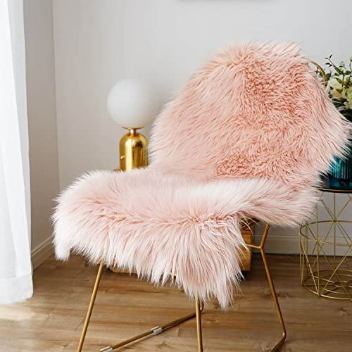 Faux Fur Sheepskin Rug,Fluffy Chair Seat Cover Floor Mat Carpet Area Rugs for Living Room – 2 ft x 3 ft, Pink