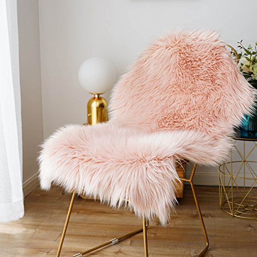 iisutas Faux Fur Sheepskin Rug,Fluffy Chair Seat Cover Floor Mat Carpet Area Rugs for Living Room- 2 ft x 3 ft, Pink