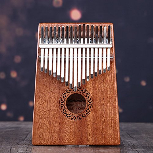 17 key Kalimba Thumb Pianos with solid mahogany portable musical instrument Provide full accessories (Raw wood)