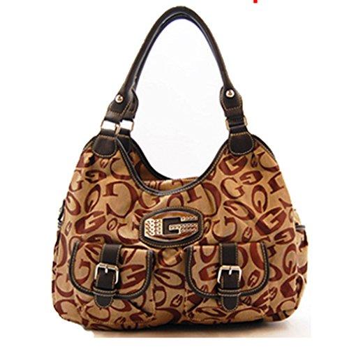 Designer Inspired Black Brown G Monogram Pocket Satchel L Hobo Bag (Designer Inspired Monogram Handbag)