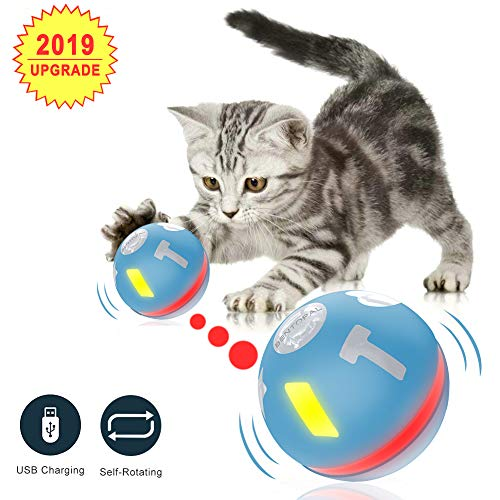 CARRYWON Interactive Cat Toy Balls, Automatic Self Rotating Toy Ball for Pets, LED Light with Two Running Modes…