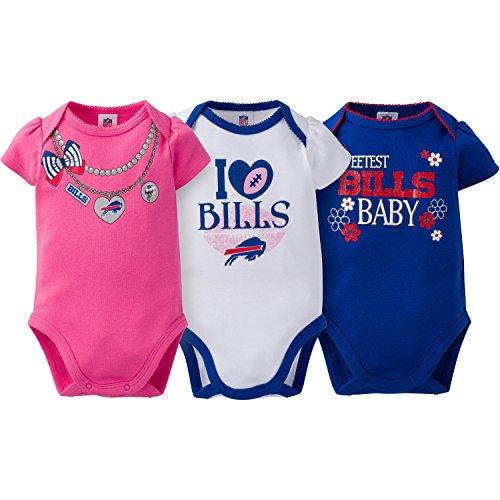NFL Buffalo Bills Girls Short Sleeve Bodysuit (3 Pack), 0-3 Months, Pink
