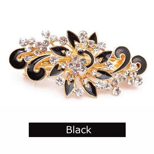 Special Beauty Nice NEW Hot Sale Fashion Women Hairpins Colorful Shinning Rhinestones Flower Hairpin Hair Clip Jewelry hair accessories Black -
