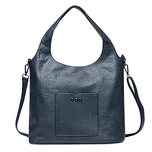 Zahara Lady Handbags PU Leather Large Designer Hobo Tote Bags Shoulder Satchel Messenger Purse for Women Girls Blue