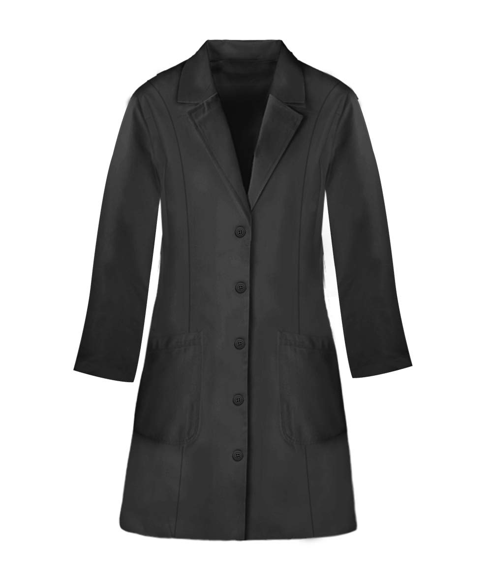 Panda Uniform Custom Colored Lab Coat for Women 36 Inch length-Black-XL