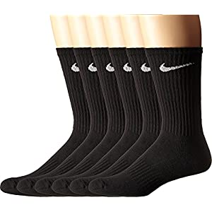 NIKE Unisex Performance Cushion Crew Socks with Bag (6 Pack), Black/White, Large