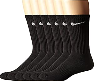 NIKE Unisex Performance Cushion Crew Socks (6 Pack), Black/White, Large