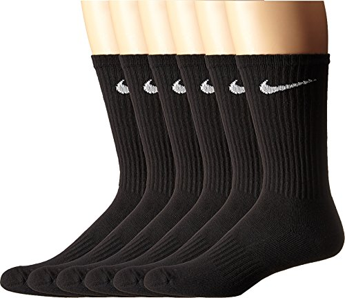 (NIKE Unisex Performance Cushion Crew Socks (6 Pairs), Black/White, Large)