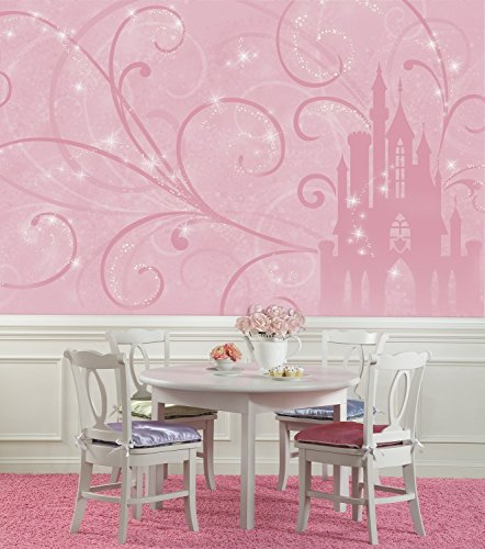 RoomMates Princess Scroll Castle Chair Rail  Removable Wall Mural - 10.5 feet X 6 feet