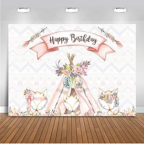 Mehofoto Woodland Birthday Backdrop Pink Girl Woodland Animals Photography Background 7x5ft Vinyl Watercolor Girl's Birthday Party Backdrops -