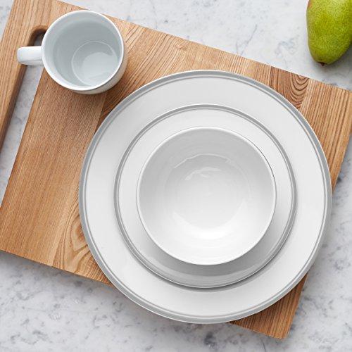 AmazonBasics 16-Piece Cafe Stripe Dinnerware Set, Service for 4 - Grey by AmazonBasics (Image #2)