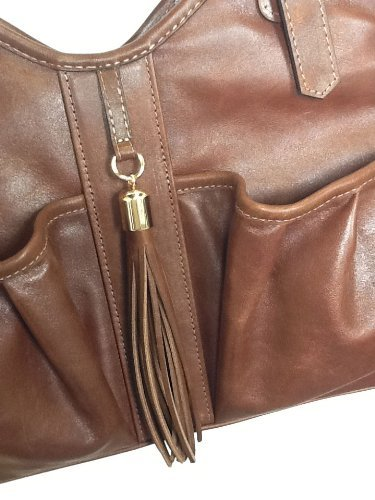Petote Metro Couture All Leather with Tassel Dog Carrier, Toffee Brown, Small