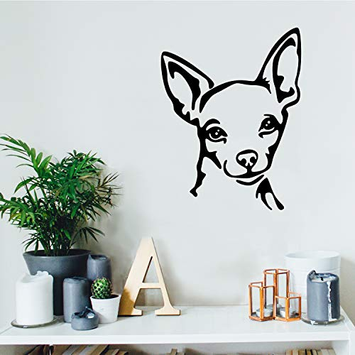 Vinyl Face - Vinyl Wall Art Decal - Chihuahua Dog Face - 26