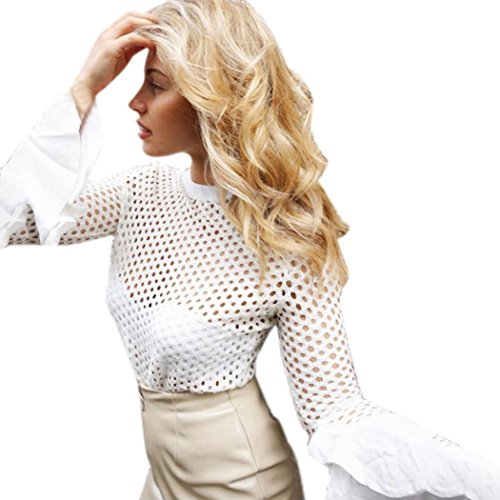Women Work Blouse ,Kingspinner See Through Sexy Hollow Out Solid Long Sleeve Net Tops (M, White)