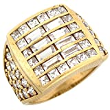 10k Gold CZ Cluster Hip Hop Bling Large Fancy Mens Ring