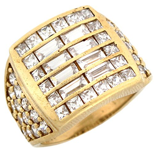 10k Gold CZ Cluster Hip Hop Bling Large Fancy Mens Ring by Jewelry Liquidation