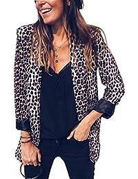 Womens Casual Long Sleeve Snakeskin Print Open Front Office Blazer Suit Jacket Coat