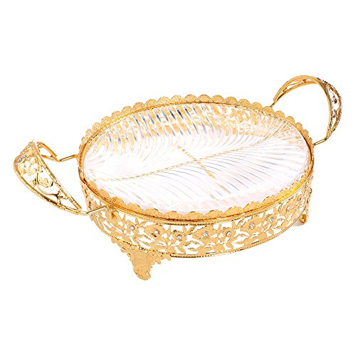 Crystal Compote Centerpiece Decorative Glass Bowl Plate Dish Serving Platter Wedding Party Table Centerpieces with Handles Large Oval Gold Metal Serve Ware Display for Cakes Desserts Fruits Candy