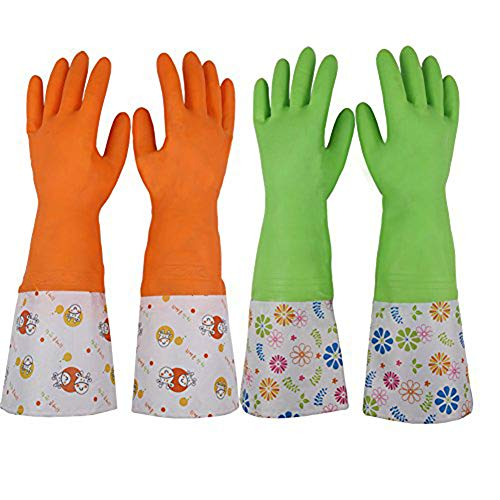 Kitchen Rubber Household Cleaning Gloves,Dishwashing Clean Waterproof Latex Gloves for Women