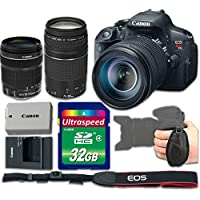 Canon T5i Camera Bundle with Canon EF-S 18-135mm f/3.5-5.6 IS STM Lens + Canon EF 75-300mm f/4-5.6 III Lens + 32gb Memory SD Card + Grip Strap - International Version (No Warranty)