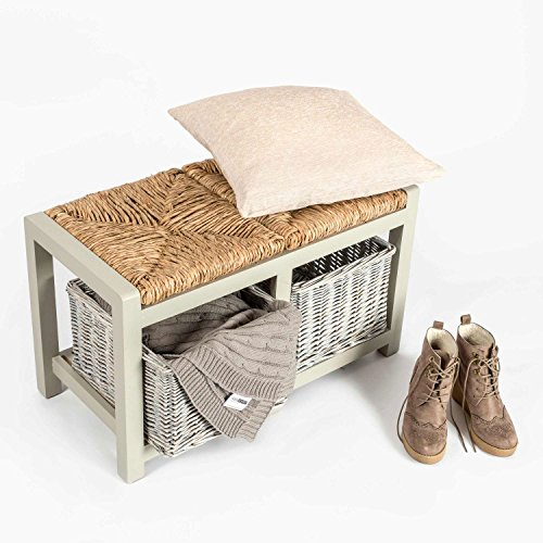 Homescapes Grey Two Seater Wooden Bench with Wicker Baskets and Seating, Hallway or Dining Room Storage Unit