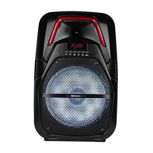 Shinco Portable PA System with Wireless Microphone, Bluetooth Speaker 8-inch Subwoofer, AUX-IN, USB/TF, FM Radio, Remote Control, Rechargeable Battery